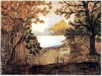 Grandma Moses' 1st painting - Fireboard